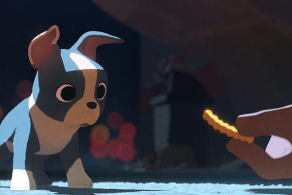 "Winston observa una papita frita en el corto ""Feast"".  Foto: Disney."