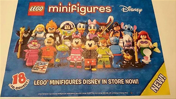 Primera imagen de la caja en la que vendrá la serie 1 de LEGO Minifigures Disney