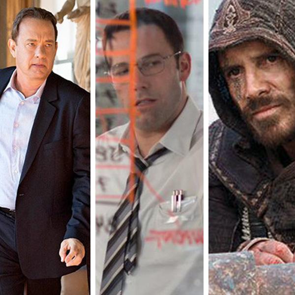 "Tom Hanks en ""Inferno"", Ben Affleck en ""The Accountant"" y Michael Fassbender en ""Assassin's Creed"", respectivamente. Montaje: Joz Terra."