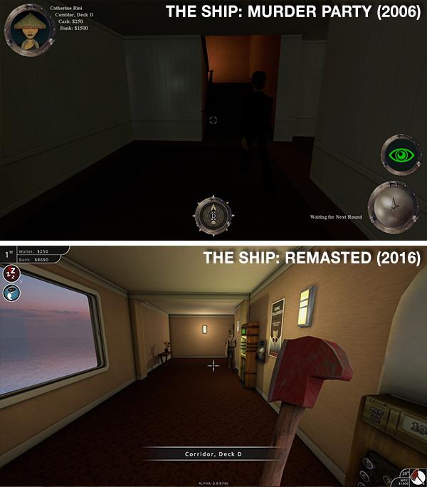 La iluminación mejoró grandemente en el nuevo juego. Nótese como apenas se ve una persona caminando hacia la escalera en la primera imagen.