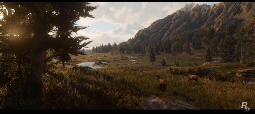 Se puede apreciar las graficas del videojuego en esta toma amplia del valle. Fotocaptura Trailer Red Dead Redemption 2
