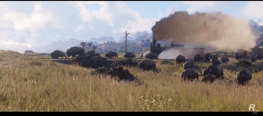 Bufalo corriendo junto al tren. Fotocaptura, Trailer Red Dead Redemption 2